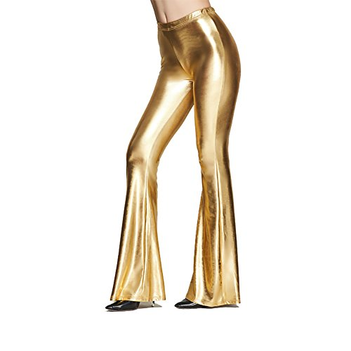 Women Shiny Slim Fit High Waist Bell Bottom Flare Pants Metallic Bootcut Palazzo Retro 70s Glam Sparkly Yoga Fall Leggings Gold S (1970s Bell Bottom Pants)