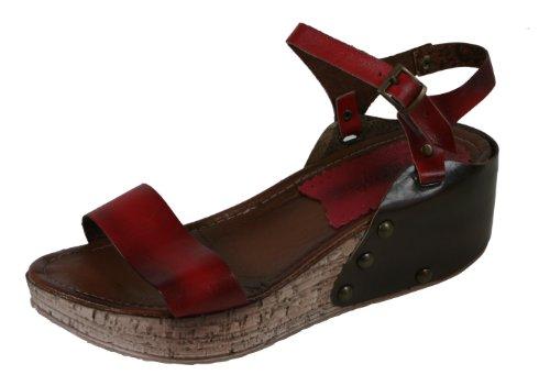 Seyna - stylische Keilabsatz Schuhe aus echtem Leder Plateau mit Riemchen und NIETEN Handgefertigt 37 38 39 40 38