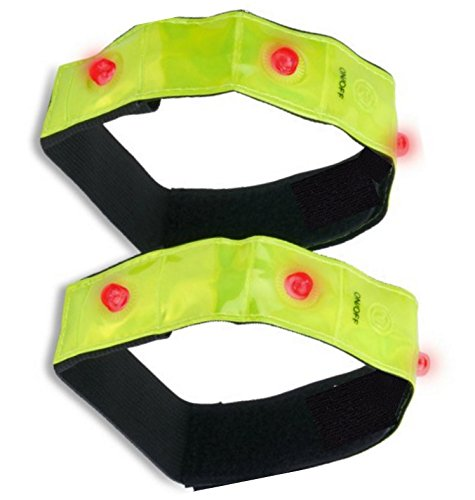 Flashing Lights LED Reflective Sports Armband, High Visibility for Running, Jogging, Walking, Cycling; Protective Gear for Children, Adults and Pets; 3M Scotchlite Tape; 2 Pack ()