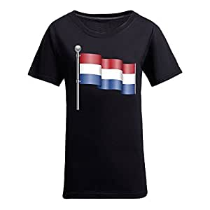 Custom Womens Cotton Short Sleeve Round Neck T-shirt, Printed with World Cup Images Black