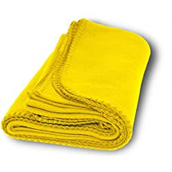 US Quality Super Soft Cozy Fleece Throw Blankets For Beds, Travel, House and Pets (Lemon Yellow)