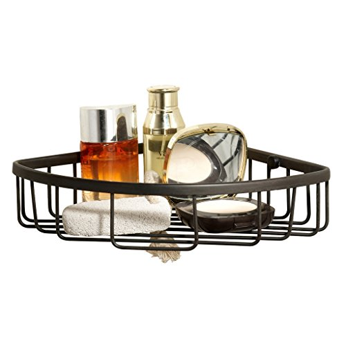 Oil Rubbed Bronze Traditional Brass (Corner Basket Shelves by MAMOLUX ACC| Solid Brass Shower Basket Shelf Tidy Rack Caddy Storage Organizer Oil Rubbed Bronze Finish|Space Saving Toiletries/Cosmetics Holder)