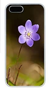 Apple iPhone 5S Case and Cover - Violet flower Hard Plastic Case for iPhone 5/5S - White
