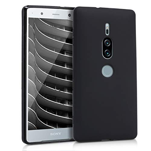 kwmobile TPU Silicone Case for Sony Xperia XZ2 Premium - Soft Flexible Shock Absorbent Protective Phone Cover - Black Matte