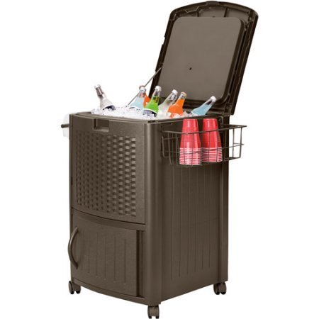 New Suncast Resin Wicker 77 Quart Brown Cooler Holds 72 Beverage cans or Six 2 liter Bottles Includes Towel bar and Wire Basket holds Additional Cans, Bottles or Entertainment Accessories by Generic