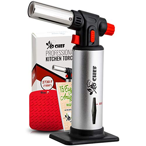 Jo Chef Kitchen Torch, Blow Torch - Refillable Butane Torch With Safety Lock & Adjustable Flame + Fuel gauge - Culinary Torch, Creme Brûlée Torch For Cooking Food, Baking, BBQ & More + FREE E-book (Best Blow Torch For Sous Vide)