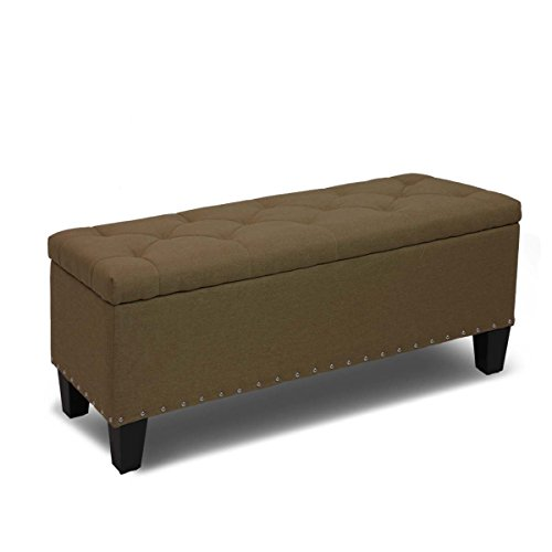 Magshion Rectangular Storage Ottoman Bench Tufted Footrest Lift Top Pouffe Ottoman, Coffee Table, Seat, Foot Rest, and more (42'', Linen Coffee)