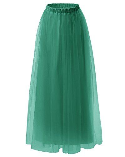 Dresstells Falda Mujer Largo Maxi Tul De Noche Fiesta Boda Madrina Green