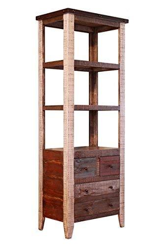 Amazon Com Rustic Distressed Solid Wood Bookshelf Bookcase