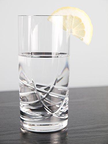 Barski - European Quality Crystal Glasses - Set Of 6 - Hand Cut Crystal - Highball Tumblers - Each Hiball Tumbler Glass is 14 oz. - Made in Europe 24% Hand Cut Lead