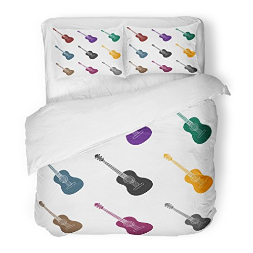 SanChic Duvet Cover Set Classic Spanish Acoustic Guitar in Black Style White Spain Country Symbol Stock Classical Decorative Bedding Set Pillow Sham Twin Size by SanChic