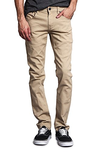Victorious Men's Skinny Fit Color Stretch Jeans DL937 - KHAKI - 40/30
