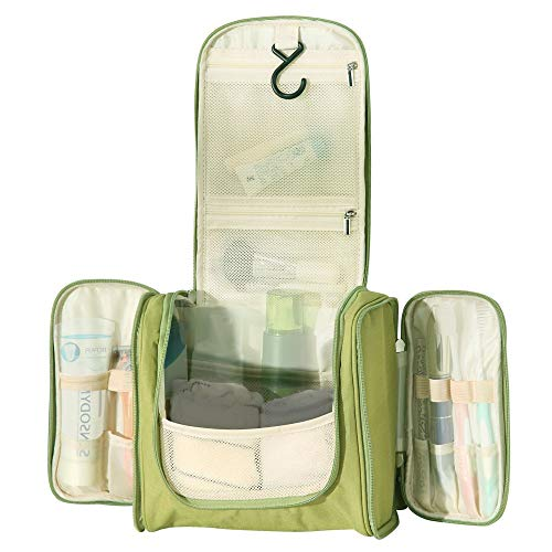WildGrow Travel Multi Compartment Hanging Toiletry Bag Kits for Men, Women (Light Green)