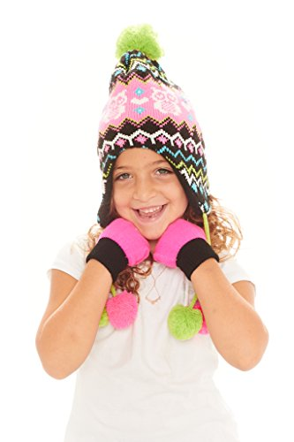 Owl Gloves (S.W.A.K Girls Owl Knit Hat with Ear Flaps & Gloves Set - Fuchsia/ Lime)
