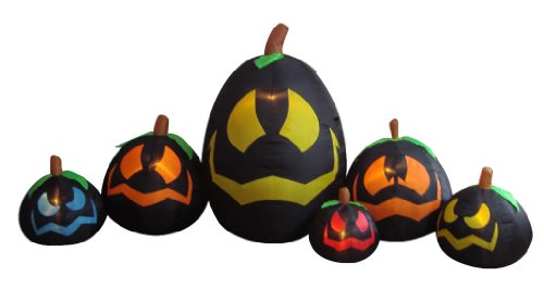 BZB Goods 12 Foot Long Illuminated Halloween Inflatable Black Pumpkins in Various Sizes -