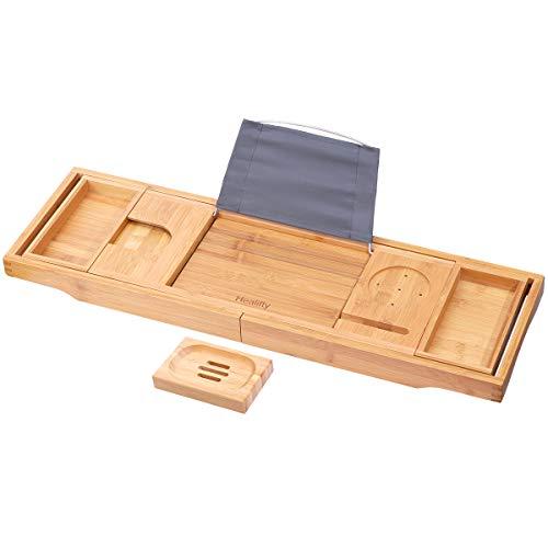 HEALIFTY Bathtub Tray - Craft Bamboo Bath Caddy Tray Retractable Bath Bridge Table Storage Rack Shelf Tablet Holder for Bed, Laptop, Reading ()