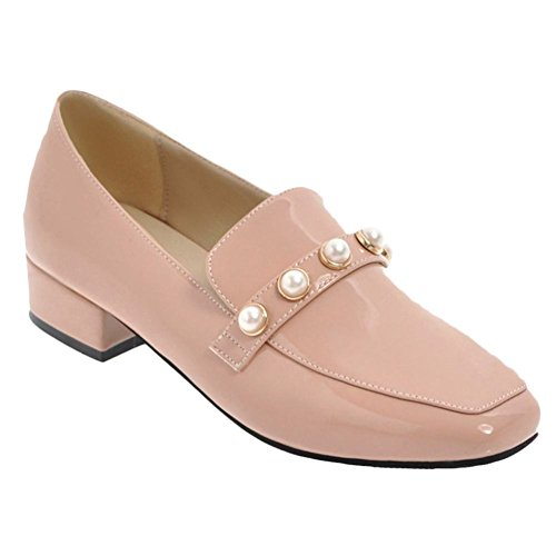 Mee Shoes Damen chunky heels vierkant slip on Pumps Nackt-Pink