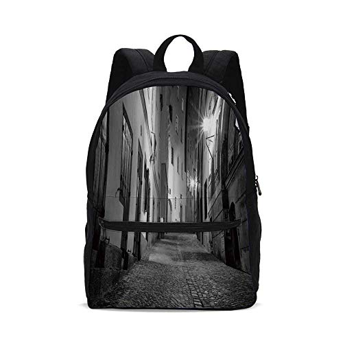 Black and White Decorations Fashion Canvas printed Backpack,Dark European Alleyway at Night Empty Street with Cobblestones Decorative for school,One_Size
