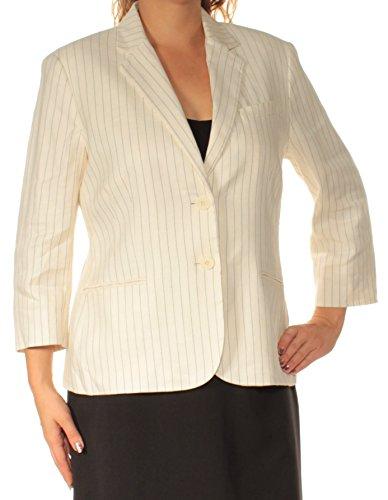 (LAUREN RALPH LAUREN Women's Pinstripe Twill Blazer (8, White/Black))