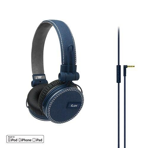 ReF by iLuv - Canvas Fabric Exterior On-Ear Headphones with Incredibly Deep Bass - Perfect match to Fashionable Outfits and Loud Bass Music such as EDM, Hip Hop, Rap, Rock & Roll - Compatible with Apple iPad, iPhone & iPod (Blue)