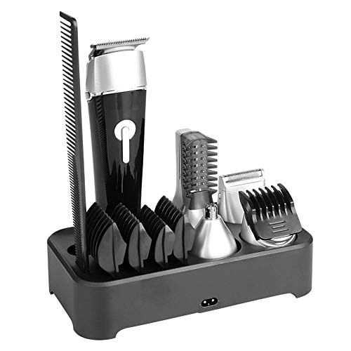 Beard Trimmer Kit Rechargeable 5 in 1 Multifunctional Men's Grooming Set with Electric Hair Clipper, Shavers,Corner Trimmer,Nose Ear Trimmer, Body Trimmer Black,Black