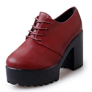 Zapatos US6 De Lace Botas Casual Combate De Botas Pu For Negro Talón Borgoña Redonda RTRY CN36 UK4 EU36 Mujer Otoño Up Puntera Chunky 4wdqdgH