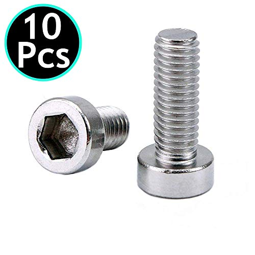 (UNIDOPRO 10Pcs M5 Hex Socket Tapping Screw Bolts for Bike Water Bottle Cage Holder Bracket Rack - 304 Stainless Steel)
