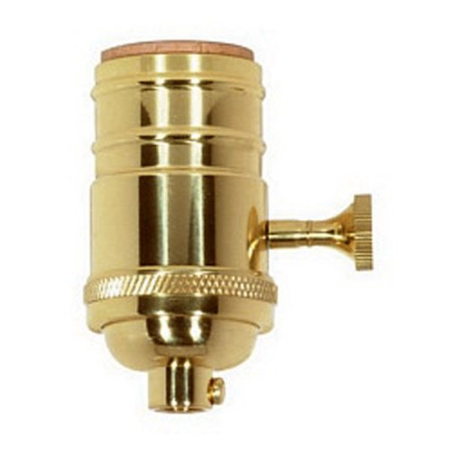 Brass Light Socket - Polished- 3-Way - 2 Circuit - Removable Turn Knob - Medium Base - 1/8 IP - PLT 80-1046
