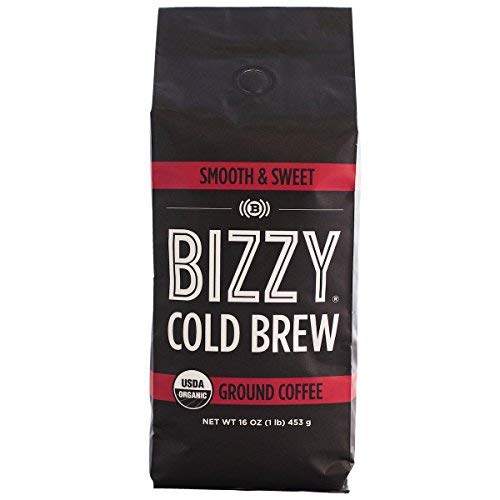 Bizzy Organic Cold Brew Coffee - Smooth & Sweet Blend - Coarse Ground Coffee - 16 oz (The Best Cold Brew Coffee)