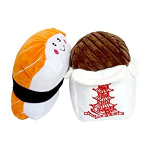 ZippyPaws Dog Toys Sushi and Chinese Takeout (Bundle of 2 Toys)