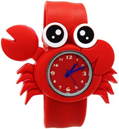 Cartoon Crab Unisex Kids Watch Water-resistant Sports Watch Bendable Rubber Strap Wrist Watch