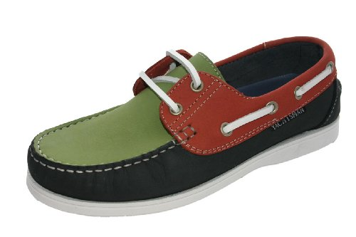 Chaussures bateau en nubuck pour femme Taille 37–41 - - Navy/Red/Green, 26