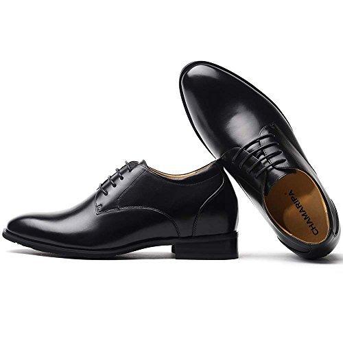 5056a7683f288 CHAMARIPA Chaussure à Talonnette Grandissante Hommes en Cuir Noir Soulier  Rehaussante Formal Shoes 7,5