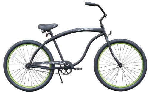 - Firmstrong Bruiser Man Single Speed Beach Cruiser Bicycle, 26-Inch, Matte Black/Green Rims