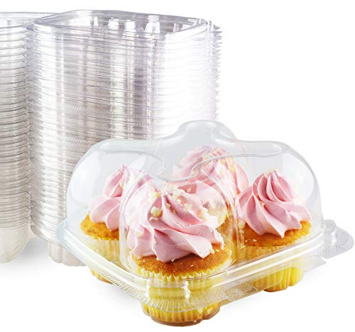 Chefible Premium 4 Compartment Cupcake Container, Cupcake Box, High Dome, Extra Sturdy and Stackable! 50 Pack