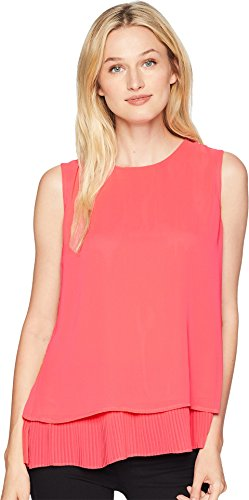 Calvin Klein Women's Sleeveless Woven Pullover Top Coral X-Large by Calvin Klein