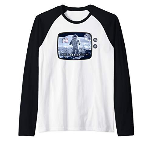 Fake Moon Landing Conspiracy Hoax Area 51 Live Broadcast Raglan Baseball Tee