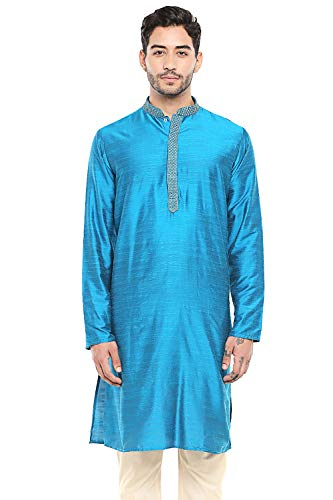 In-Sattva Men's Classic Band Collar Indian Kurta Tunic with Embroidered Placket, Blue, SM
