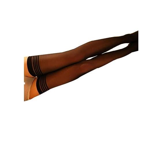 DOGZI Mujer Sexy sobre las medias de la rodilla Calcetines de seda de la raya de