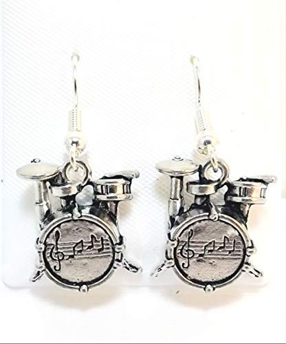 Pewter Drum Set Charms on Hypoallergenic French Hook Dangle Earrings