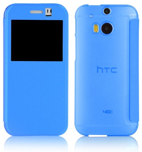 JAMMYLIZARD [ HTC One M8 Case ] Blue Transparent Window Flip Cover, Screen Protector Included