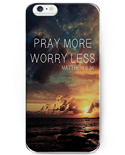 UKASE Hard Back Cover Case for 2014 iPhone 6 Plus ( 5.5 inch ) with Bible Quotes Pray More Worry Less