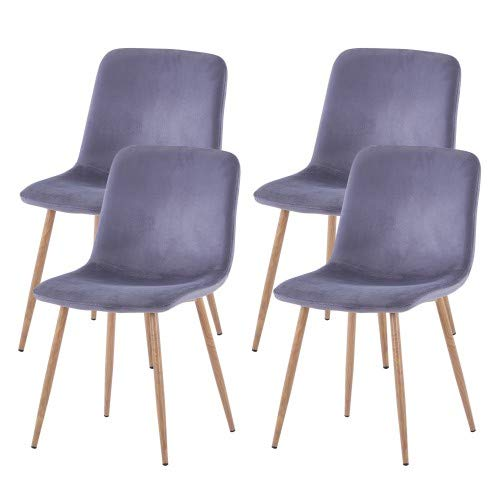 FOODAGE Modern Dining Chairs Set of 4, Velvet Upholstered Kitchen Side Chairs with Study Metal Legs, Gorgeous Chairs for Dining and Living Room Gray