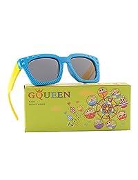 GQUEEN Rubber Flexible Kids Rectangle Polarized Sunglasses for Boys Girls ET18