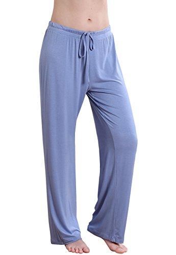 Vislivin Women's Stretch Knit Pajama Pants Modal Sleep Pant Blue Wide XL