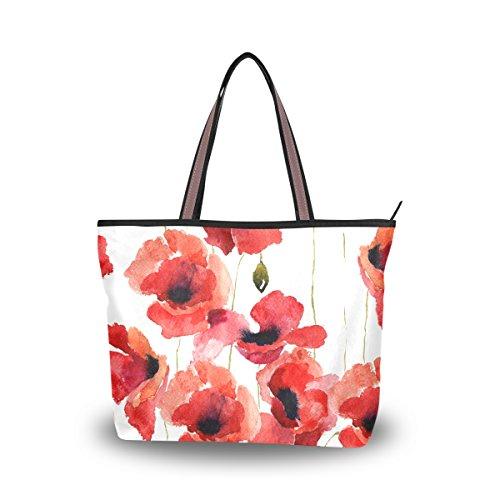 JSTEL Women Large Tote Top Handle Shoulder Bags Stylized Poppy Flowers Illustration Patern Ladies Handbag - Flower Tote Bag
