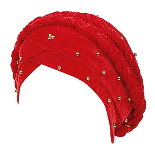XILALU Women Beading India Hat Muslim Cancer Chemo Beanie Turban Wrap Cap Red