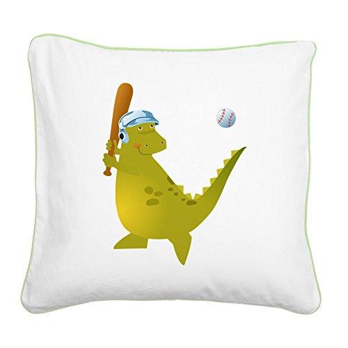 Square Canvas Throw Pillow Key Lime Baseball Playing Dinosaur