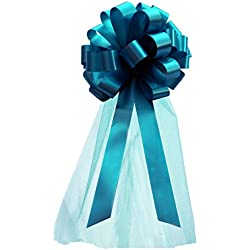 "Turquoise Wedding Pull Bows with Tulle Tails - 8"" Wide, Set of 6"
