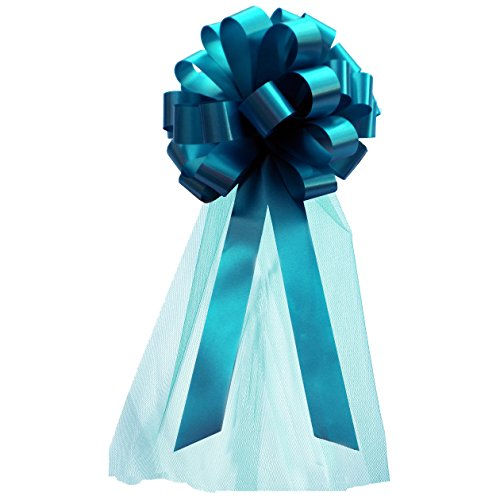 Turquoise Wedding Pull Bows with Tulle Tails - 8